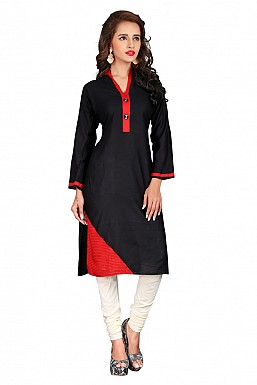 Black Heavy Rayon Cotton Plain Casual Kurti @ Rs494.00