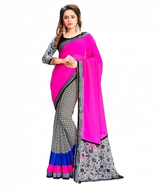 Georgette Printed Pink Saree @ Rs864.00