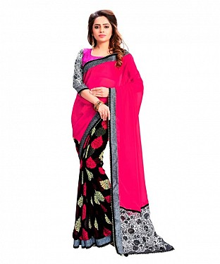 Georgette Printed Red Saree @ Rs864.00