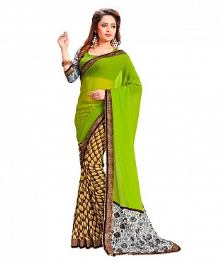 Georgette Printed Green Saree @ Rs864.00