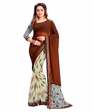 Georgette Printed Brown Saree @ Rs864.00