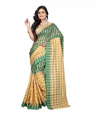 Cotton Silk Plain Green Saree @ Rs308.00