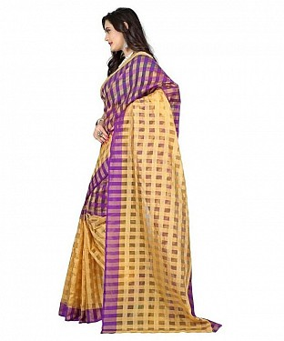 Cotton Silk Plain Purple Saree @ Rs308.00
