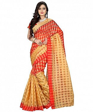 Cotton Silk Plain Red Saree @ Rs308.00