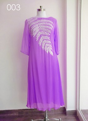 Designer Purple Colour Georgette Embroidered Kurti @ Rs411.00