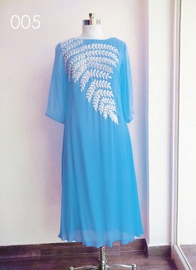 Designer Sky Blue Colour Georgette Embroidered Kurti @ Rs494.00