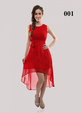 Buy Red Georgette Casual Semi-stitched Kurti @ Rs555.00