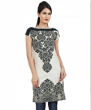 Panchi Cream White and Black Printed Cotton Kurti @ Rs494.00