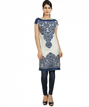 Panchi Cream White and Blue Printed Cotton Kurti @ Rs494.00
