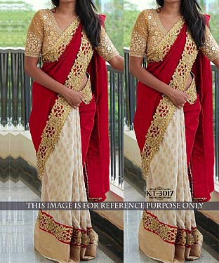 NEW DESIGNER RED &  WHITE SOFT SILK GEORGETTE INDIAN MULTY WITH SEQUNCE SAREE @ Rs2287.00