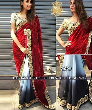 NEW DESIGNER RED &  WHITE &  BLACK 9000 VELVET INDIAN MULTY WITH SEQUNCE SAREE@ Rs.1484.00