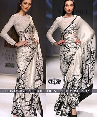 NEW DESIGNER WHITE PURE SILK PRINT INDIAN MULTY WITH SEQUNCE SAREE @ Rs1236.00