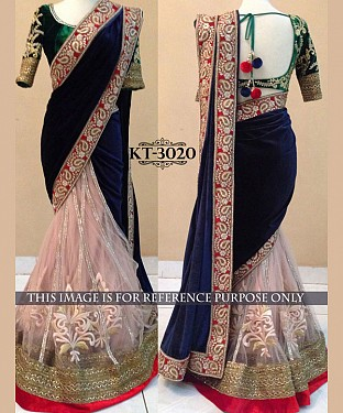 NEW DESIGNER BLUE &  CREAM 9000 VELVET INDIAN MULTY WITH SEQUNCE SAREE @ Rs1978.00