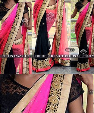 NEW DESIGNER PINK &  BLACK NET SPREY INDIAN MULTY THREAD WORK SAREE @ Rs1422.00