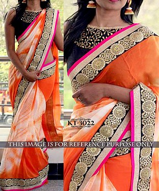 NEW DESIGNER ORANGE &  WHITE SIBORI PRINT WEIGHTLESS GOERGET INDIAN MULTY WITH SEQUNCE SAREE @ Rs1700.00