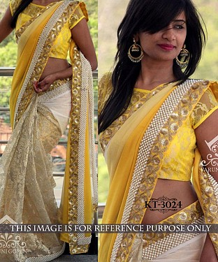 NEW DESIGNER YELLOW &  WHITE 60GM PEDDING GEORGETTE INDIAN MULTY WITH SEQUNCE SAREE Buy Rs.1638.00