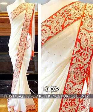 NEW DESIGNER WHITE 60GM GOERGET INDIAN MULTY THREAD/HAND WORK SAREE @ Rs1515.00