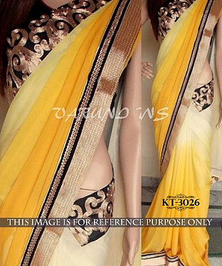 NEW DESIGNER YELLOW &  WHITE 60GM PEDDING GEORGETTE INDIAN MULTY THREAD WORK SAREE @ Rs1082.00