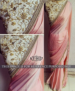 NEW DESIGNER LIGHT PINK LAYCRA SILK GEORGETTE INDIAN MULTY WITH SEQUNCE SAREE Buy Rs.1329.00
