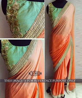 NEW DESIGNER ORANGE LAYCRA SILK GEORGETTE INDIAN MULTY WITH SEQUNCE SAREE Buy Rs.1329.00