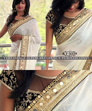 NEW DESIGNER WHITE 60GM GOERGET INDIAN MULTY WITH SEQUNCE/HAND SAREE @ Rs1515.00