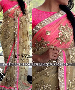 NEW DESIGNER CREAM NAYLONE NET INDIAN MULTY WITH SEQUNCE/HAND SAREE @ Rs2163.00