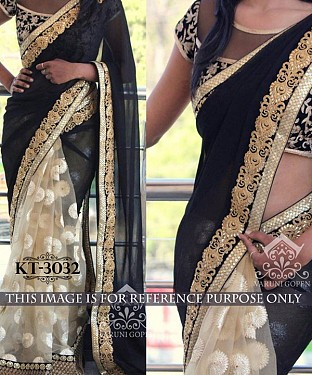 NEW DESIGNER BLACK &  CREAM 60GM GEORGETTE INDIAN MULTY WITH SEQUNCE/HAND SAREE @ Rs1854.00