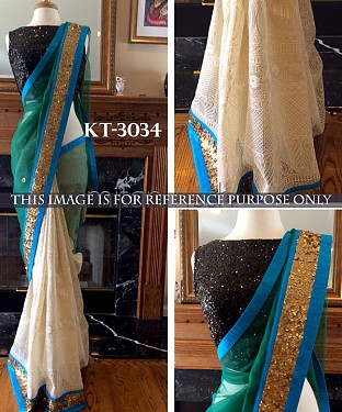 NEW DESIGNER GREEN &  WHITE 60GM   GEORGETTE INDIAN MULTY WITH SEQUNCE SAREE @ Rs1607.00
