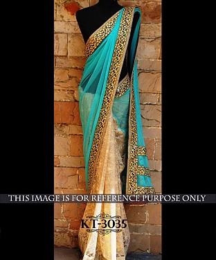 NEW DESIGNER FIROZI &  CREAM NYLONE NET INDIAN MULTY WITH SEQUNCE SAREE@ Rs.1731.00