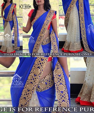 NEW DESIGNER BLUE &  WHITE 60GM   GEORGETTE INDIAN MULTY WITH SEQUNCE/HAND SAREE @ Rs1731.00