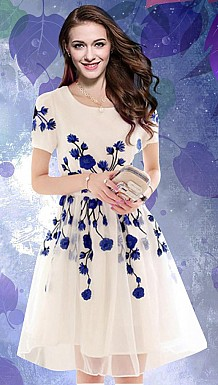 Designer White & Blue Colour Semi Stitched Western Wear @ Rs988.00