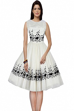 Designer White & Black Semi Stitched Western Wear @ Rs1235.00