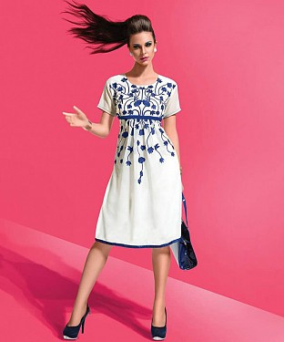 Designer White ⁄ Blue Colour Semi Stitched Western Wear @ Rs927.00