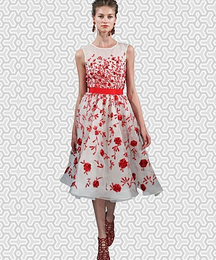Designer White & Red Colour Semi Stitched Western Wear @ Rs1112.00