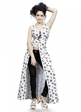 Designer White Long Crop Top @ Rs1112.00