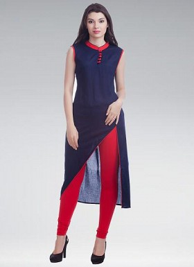 Fancy Beautiful Nevy Blue Colour Designer Stitched Cotton Kurti Buy Rs.617.00