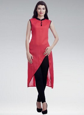 Red Colour Designer Stitched Cotton Fancy Kurti @ Rs617.00
