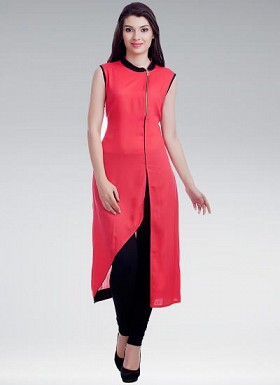 Fancy Beautiful Red Colour Designer Stitched Cotton Kurti @ Rs617.00