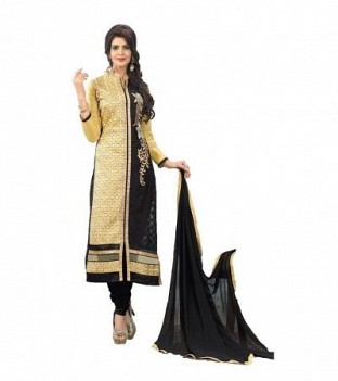 Panchi Embroidered Beige and Black Cotton Dress Materials @ Rs976.00
