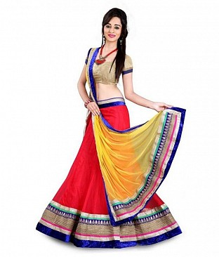 Red Net Embroidered Unstiched Lehenga Choli And Dupatta set @ Rs1050.00