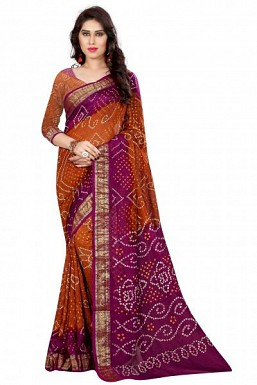 New Orange And Pink Art Silk Bandhej Saree@ Rs.1298.00