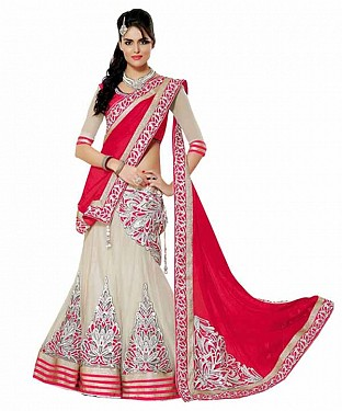 MAHARANI RED NET LEHENGA@ Rs.730.00
