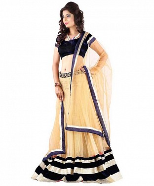 STYAELISH Cream NET  LEHENGA@ Rs.1113.00