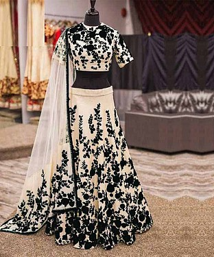 EMBROIDERED Cream LEHENGA @ Rs1125.00