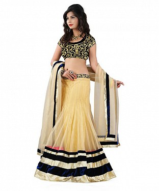 STYAELISH Cream NET  LEHENGA@ Rs.1199.00