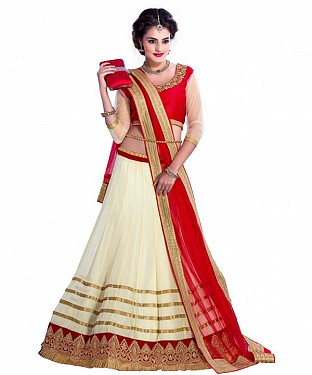 STYAELISH Cream NET  LEHENGA @ Rs1199.00