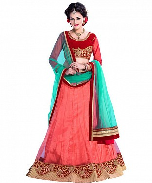 CLASSY PINK LEHENGA WITH GREEN DUPTTA@ Rs.1508.00