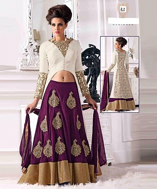 PURPLE WITH HEAVY PESLY DESIGNER  LEHENGA@ Rs.2201.00