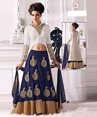 Blue WITH HEAVY PESLY DESIGNER  LEHENGA@ Rs.2201.00