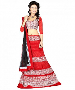STYLISH RED LEHENGA@ Rs.1434.00
